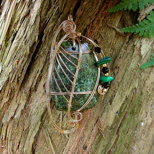 ALPINE TRAIL - Gold Wire Wrapped African Turquoise Pendant. Healing stone of Peace and Calm
