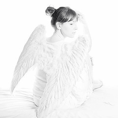126 of 365 - Do you believe in angels? (elsvo) Tags: portrait blackandwhite me monochrome angel self square wings highkey 365 players rogue squarephoto trp 365days elsvo