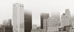 The Financial District Tuesday Morning (Jay Fine) Tags: nyc panorama newyork fog sepia clouds construction cityscape cranes financialdistrict whotel ptgui manhtattan