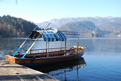 Boat to Bled Island (elenikiokia) Tags: blue lake church island boat slovenia bled pletna