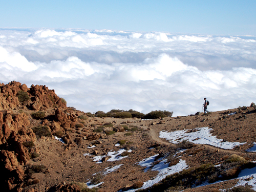 Walking above the clouds on Mount Guajara in Teide National Park