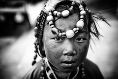Tibetan Girl (falsalama) Tags: portrait girl beads child dress head traditional portrt shangrila tibetan ritratto meisje batang zhongdian babae  kz snotrocket  muotokuva portrt dziewczyna khampa chuba lny  portreto   falsalama   harlun danielgriffin