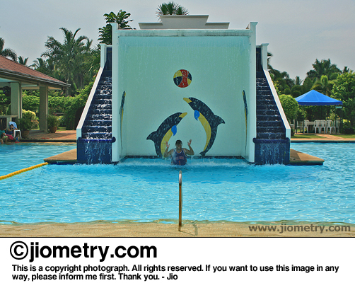 Huge water fountain with playful dolphins painted on the wall