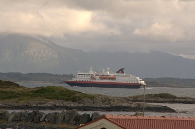 The daily hurtigruten passes Bud Camping