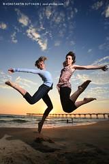 Sunset jump (Konstantin Sutyagin) Tags: ocean girls sunset sea beach girl fun jump jumping joy
