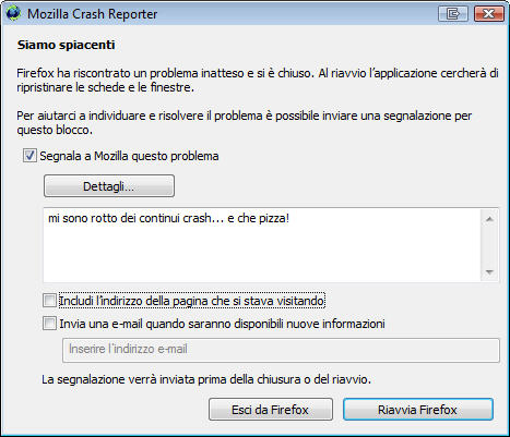 continui crash di Firefox 3.0
