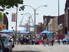 the Old North neighborhood, on house tour day (image courtesy of Old North St. Louis)