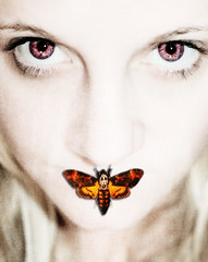 The Moths Kiss (Gods Emerald - With Love Photography) Tags: selfportrait face photoshop moth movieposter silenceofthelambs redeyes