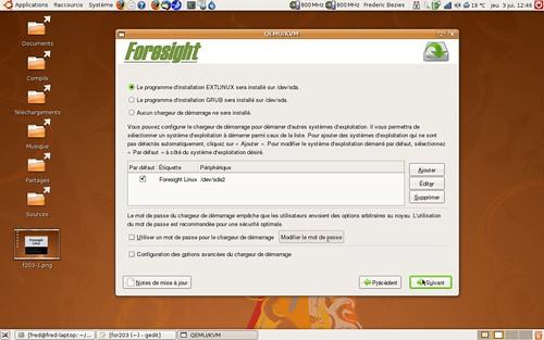 Les programmes de démarrage disponible sous Foresight Linux<br />