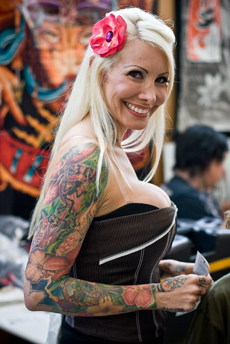 Tattoo is sexy old woman arm