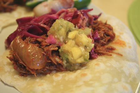 Al pastor with slaw and salsa