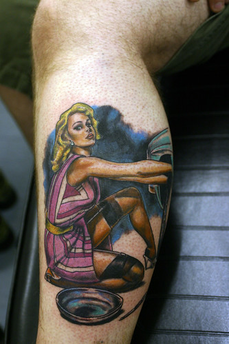 Sexy girl in the leg temporary tattoo, Pin-Up-Tattoo
