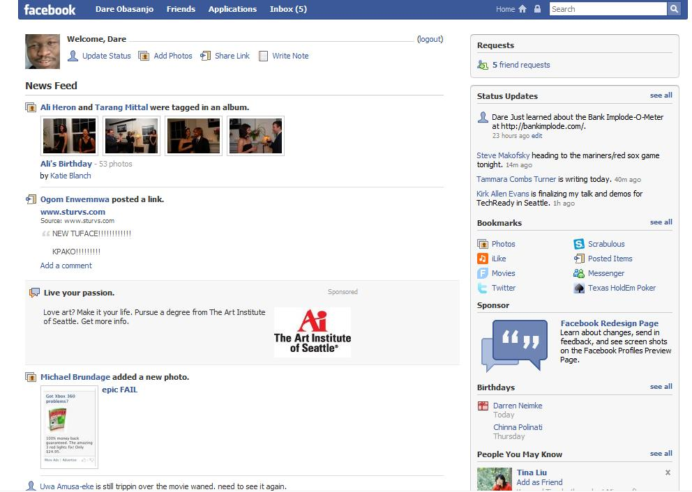 in the original revision of the new facebook: this layout out is great,