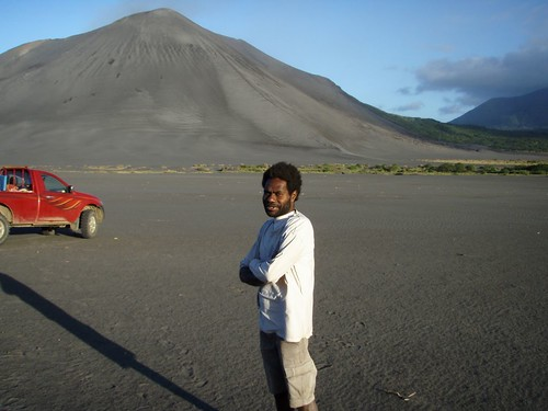 Stanley our guide - with Mt. Yasur in the background