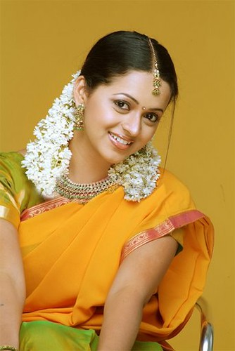 Bhavana: flower power, in traditional south Indian girls' dress