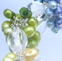 Sparkling rock crystal quartz matched with a rainbow of freshwater pearls