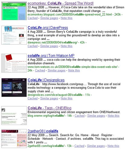 Google search for ColaLife