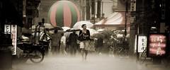[フリー画像] 人物, 人と風景, 雨, 日本, 東京都, パノラマ, 201010221700