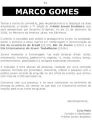 Premio Jovem Brasileiro (Marco Gomes) Tags: carta documento jovem homenagem premio marcogomes empreendedor premiojovembrasileiro