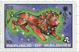 Maldive-Islands Leo Stamp