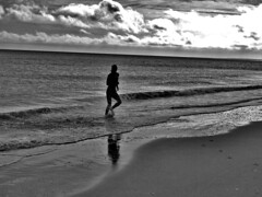 runner (Tadgh  Maoildearg) Tags: ireland sea bw reflection beach water strand sand october runner wexford wetsuit blackwhitephotos curracloe olympus510 culletonsgap