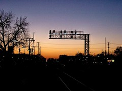 Sunset on the BNSF Railway 3 track Chicago to Aurora Illinois mainline. Berwyn Illinois. January 2007.