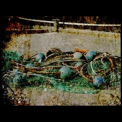 An early christmas decoration (Kirsten M Lentoft) Tags: blue green net port denmark fishing harbour textured gilleleje texturebyhabaneros kirstenmlentoft