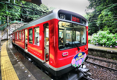 Hakone Train (` Toshio ') Tags: flowers red vacation people mountain japan train asia traintracks tourists mountfuji nippon hakone hdr nihon hydrangeas mtfuji conductor toshio abigfave platinumphoto