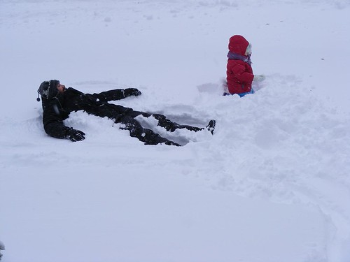 pooped (snow angels)