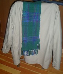 Nik's Finished Scarf on Coat