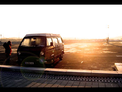 Good morning sunshine (Paulchen...mostly off. :)) Tags: holland sunshine breakfast sunrise lila vwbus hollidays