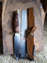 short bowie (misstme76) Tags: bowie handcrafted redwood knives largeknife customleather customknife shortbowie handcraftedknife customsheaths largeknives