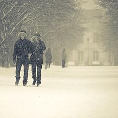 Snowy walks (Gregory Bastien) Tags: trees winter people snow paris tourism nature monochrome square couple hiver tourists explore champdemars neige iledefrance tourisme touristes 50faves gregorybastien parisianphotography
