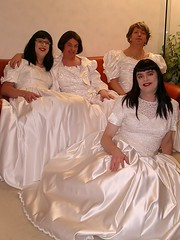 Groom missing (Paula Satijn) Tags: friends white shiny dress tgirl transvestite brides gown satin silky ballgown tbride