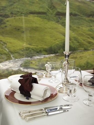 Train Chartering - Royal Scotsman, dining table