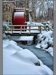 Delicate Texture of Fresh Snow (Mez, Kornl (mostly away)) Tags: bridge blue trees winter red white snow cold building mill ice nature wheel stone forest wooden stream powder fresh aplusphoto