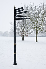 Show Me the Way to Go Home (s1ngerman) Tags: park trees winter snow sign kent direction signpost swanley