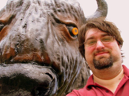 self portrait with Loretta Lynn's fake bison