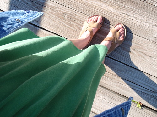 Green Dress with Hippie Shoes