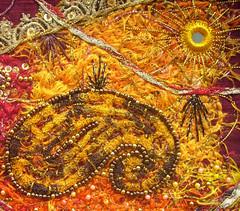 Detail Paisley & Shisha 5 (Karen Cattoire) Tags: original abstract art shisha handmade embroidery originalart creation fabric fiberart paisley beading textileart bjp tissu abstrait textiledart karencattoire fibretextile arttexilte