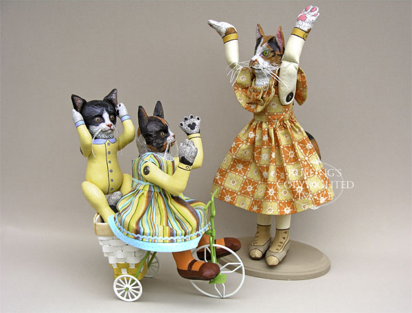 Fiona and Ziggy Original Kitten Folk Art Cat Dolls by Elizabeth Ruffing, Hedda by Max Bailey