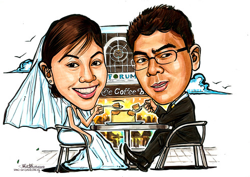 Caricatures couple wedding at Forum Coffee Bean