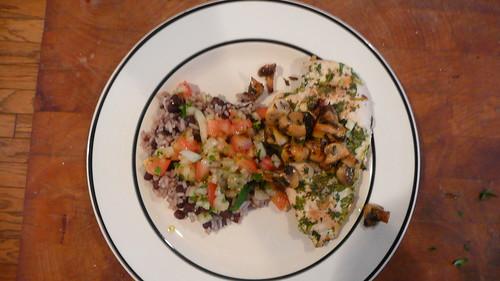 Cilantro Chicken with Carmelized Mushrooms