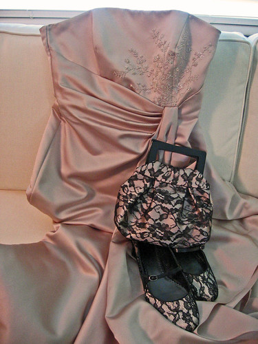 bridesmaid dress and matching bag