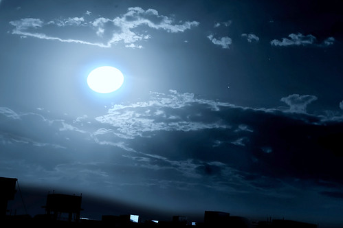 Love is like the moon - full moon with the clouds