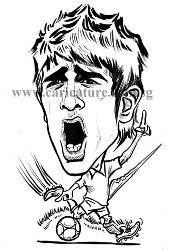 Caricature of David Villa ink outline watermark