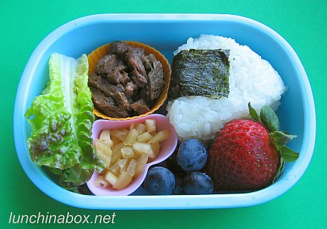 Kalbi rice ball bento lunch for preschooler