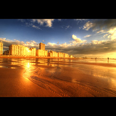 City Of Gold (Dimitri Depaepe) Tags: city blue sunset sea sky sun reflection building clouds buildings gold sand bravo chapeau oostende hdr ostend firstquality supershot justimagine xoxoxoxoxoxo infinestyle megashot atqueartificia goldenvisions thetowerofpriapus