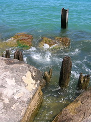 Rock, Wood, and Water (auntjojo) Tags: park wood chicago water rocks waves tide lakemichigan lakeshore algae rotten ibeam metalpost marovitz woodenpiers metalpier marovitzgolfcourse