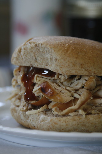 barbequed pulled chicken sandwich